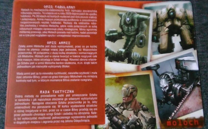 Zbliżenie na zawartość karty pomocy dla gracza dysponującego armią Molocha.