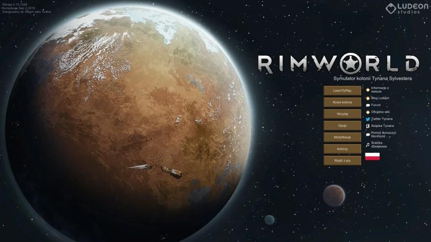 Menu głowne gry RimWorld.