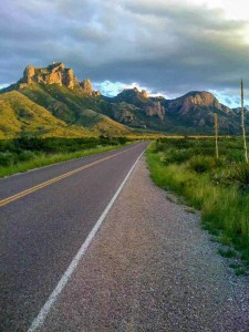 driving into the chisos mountains
