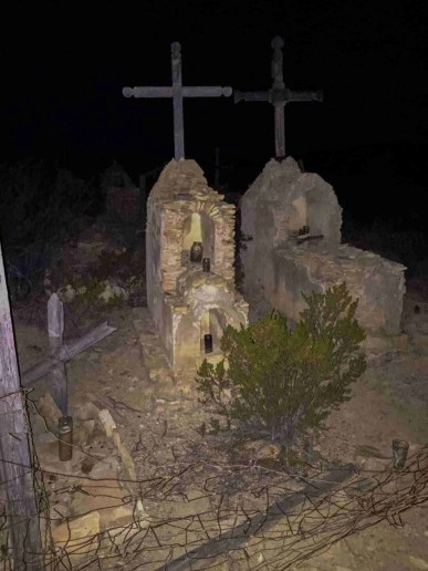 terlingua cemetery graves at night