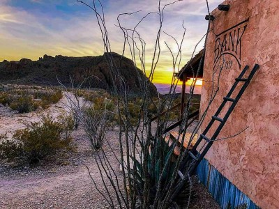 Ten Bits Ranch at sunset, the best place to stay in Big Bend Texas