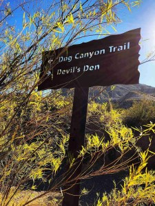 Trail Sign for Dog Canyon and Devil's Den