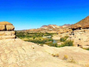 hoodoos trail in big bend ranch state park with rio grande river border texas and mexico