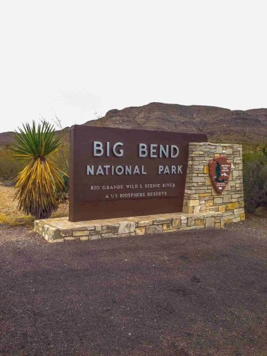 Big Bend National Park sign entrance