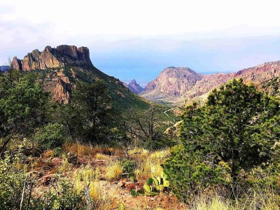 view into the chisos basin from the lost mine trail