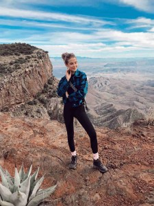 Hannah Brower Fashion Hiker enjoying Views from the South Rim Trail in Big Bend National Park