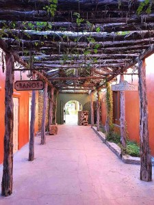 hall to dining and bathrooms at lajitas resort texas