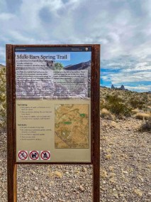 Trail head sign Mule Ear Spring Trail in Big Bend National Park