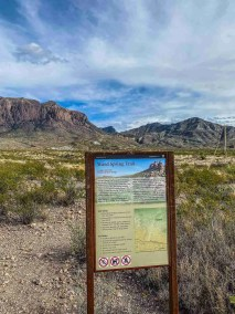 Trail Head Sign Ward Spring Trail in Big Bend National Park