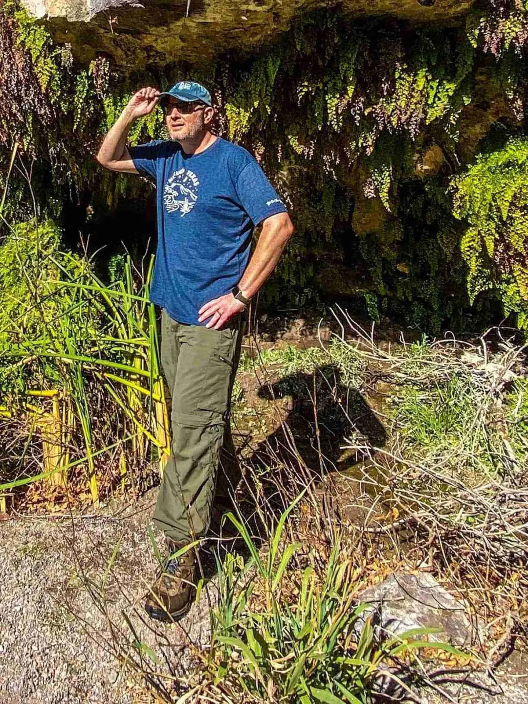 Adam Brower, virtual park ranger of big bend guide, at Ojito Adentro spring in Big Bend Ranch State Park
