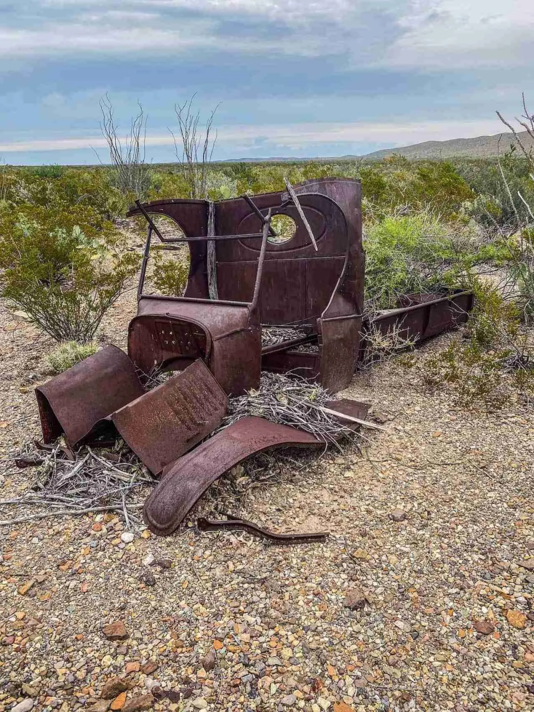 old truck rusted and in ruins north of dugout wells in big bend