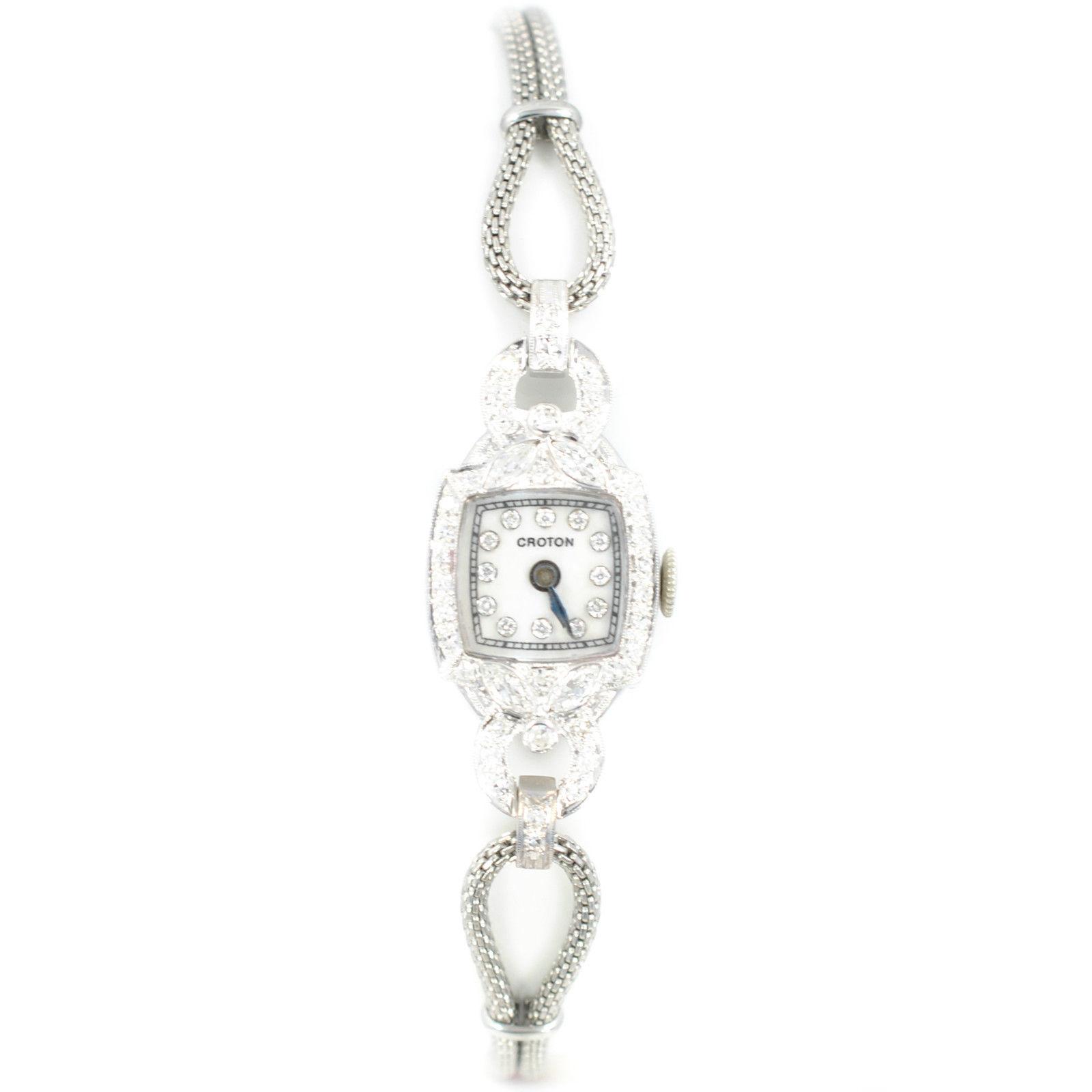 Croton Vintage Womens Manual Winding Watch Platinum & SS
