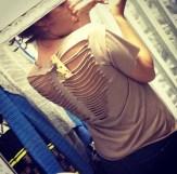 Big Brother 2013 Spoilers - Amanda Zuckerman models Jeremy t-shirt