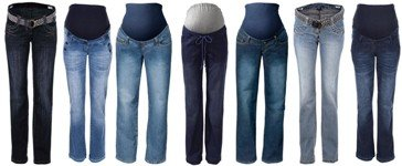 Selection of over and under-bump Maternity Jeans styles. Plus size maternity clothes
