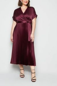 Burgundy Satin Pleated Midi Dress