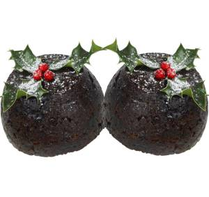 A pair of Christmas puddings, tastefully arranged to suggest breasts and therefore Christmastitis.