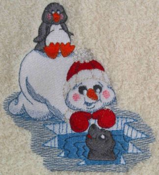 Snowman With Penguin Embroidered Bath Towels