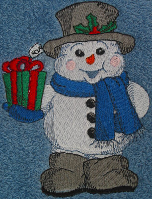 Snowman With Present Embroidered Towel