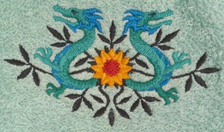 Two Dragons Flowers Bath Towel