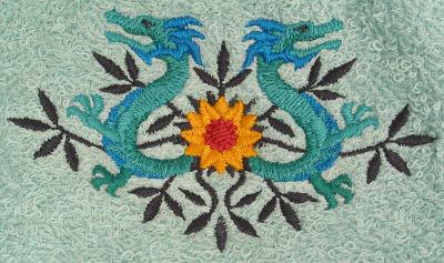 Two Dragons Flowers Bath Towel