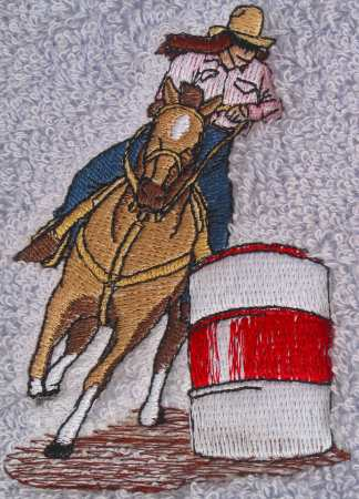 Female barrel racer horse bath towels