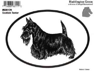 Haddington Green Black/White Scottish Terrier Dog Oval Decal