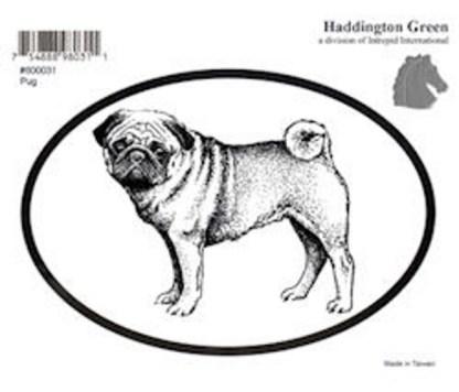Haddington Green Black and White Pug Dog Oval Decal