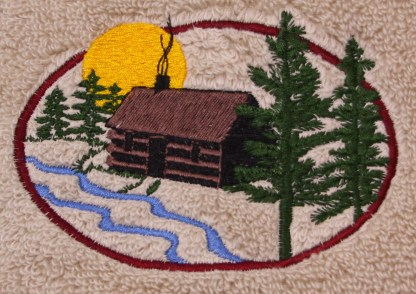 Cabin in the Woods on Embroidered Bath Towels - Wash, Hand, Bath