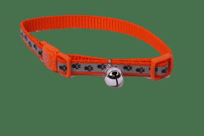 Orange Paw Print Cat Collar