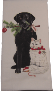 Black Lab & white cat towel