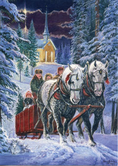 Percherons pulling a bobsled boxed Christmas Cards