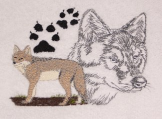 Coyote and Paw Print Embroidered Bath Towels