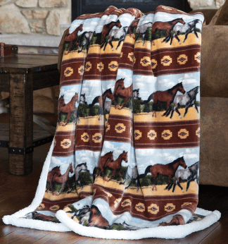 Horses Fleece Sherpa Throw