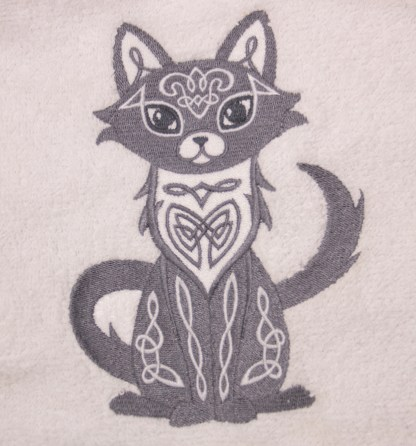 Grey Celtic Cat Embroidered Bath, Hand, Wash Towels