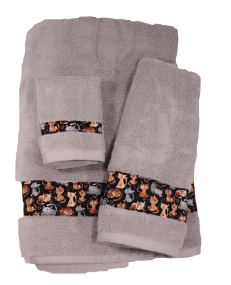 Three Piece Towel Set - Playful Cats Fabric Border