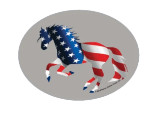 Euro Horse Oval Sticker: Full Color American Flag Horse