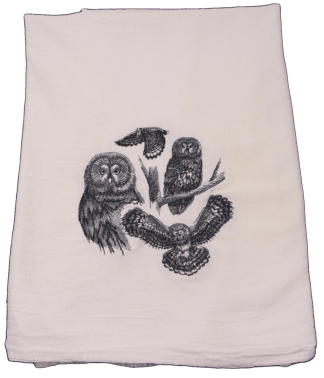 Embroidered Owls White Flour Sack Dish Towel