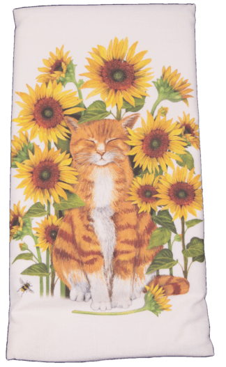 Orange Cat Sitting in Sunflowers Printed Flour Sack Dish Towel