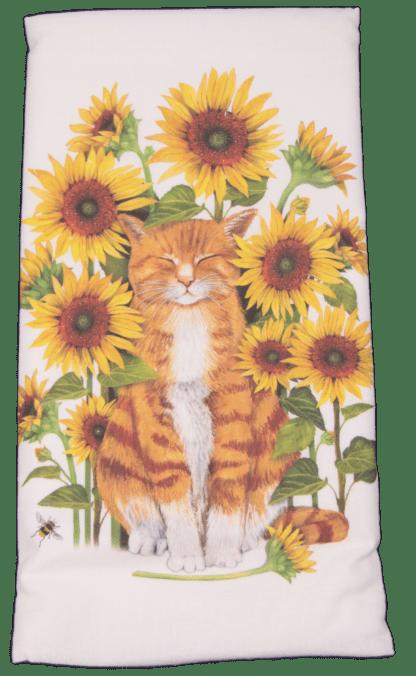Orange Cat Sitting in Sunflowers Printed Flour Sack Dish Towel