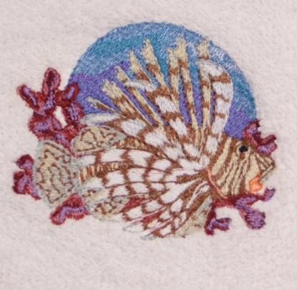 Lion Fish Embroidered Bath, Hand, Wash Towels