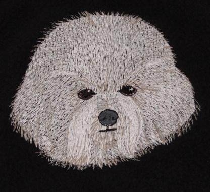 Bichon Dog Face Embroidered Fleece Throw