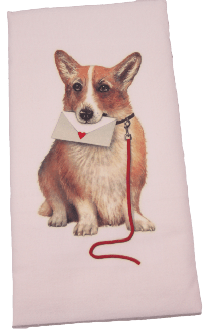 The flour sack dish towel is 100% white cotton. The actual size 30 X 30 inches. The towel has a printed design featuring a Corgi dog with an envelop with a heart.
