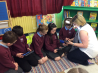 mrs mchugh with p4 showing how tech can develop skills in learning