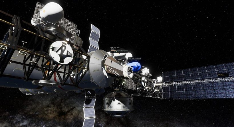 Close up of space station in Stable Orbit