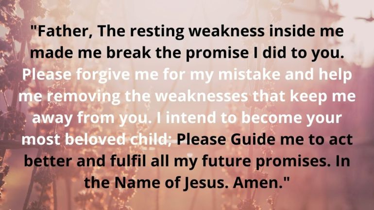 Prayer for breaking a promise to God Images