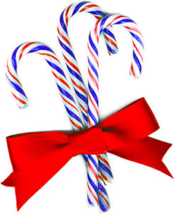 red blue and white candy canes tied up in a red ribbon bow
