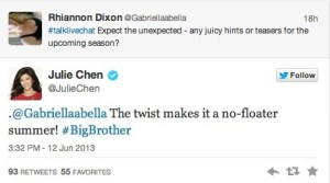 Big Brother 2013 Spoilers - Julie Chen Tweet