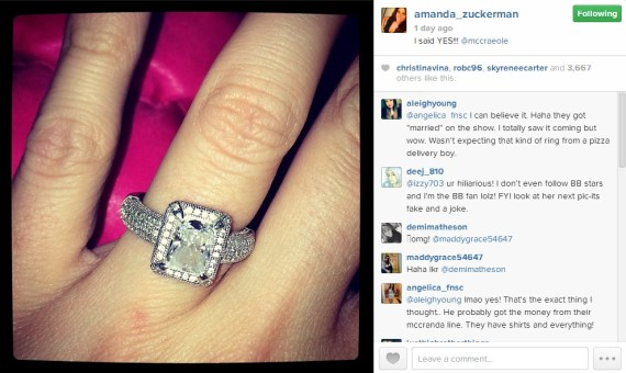 Amanda Zuckerman fake ring - Source: Instagram