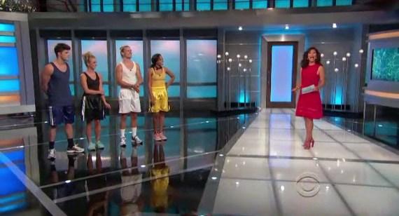 Big Brother 16 Host Julie Chen and Houseguests Nicole, Hayden, Jocasta, and Zach