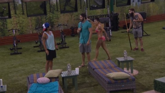 Big Brother 18 houseguests hear someone shouting. (CBS/BigBrotherNetwork.com)